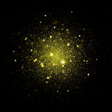 Vector gold star sparkles in space. Glittering shining particles in galaxy Stock Photos