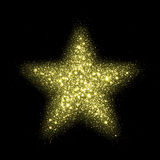 Vector gold star sparkles in space. Glittering shining particles galaxy. Royalty Free Stock Photo