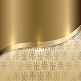 Vector gold texture background with curve line and. Vector golden texture background with curve line and floral print Stock Photography