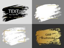 Vector gold, white and black paint stroke with border frame. Dir. Ty artistic design element, box, frame or background for text Royalty Free Stock Photography