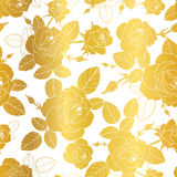Vector gold and white roses and leaves drawing seamless repeat pattern background. Great for subtle, botanical, modern Royalty Free Stock Photos