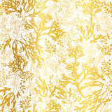 Vector Gold and White Seaweed Texture Seamless Pattern Background. Great for elegant gray fabric, cards, wedding Royalty Free Stock Photos