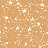 Vector gold and white star seamless repeat pattern background. Surface pattern design royalty free illustration