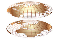 Vector gold world globe Stock Image