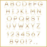 Vector golden alphabet letters with reflection on Stock Photography