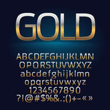 Vector golden alphabet letters, symbols, numbers Stock Photography