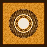 Vector golden arabic card template with ornamented circles and patterns. design for covers, print, cards Royalty Free Stock Photo