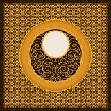 Vector golden arabic card template with ornamented circles and patterns. design for covers, print, cards Stock Photos