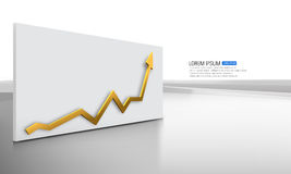 Vector golden arrow graph. Illustration of golden arrow graph Royalty Free Stock Images