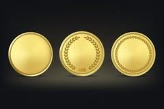 Vector golden award medals set on black background. Stock Photography