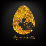 Vector golden background with glitter. Sparkles. Easter bunny an Stock Images