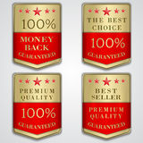 Vector golden badge label set with premium quality. Vector gold and red shield set with premium quality and best seller text Royalty Free Stock Photo