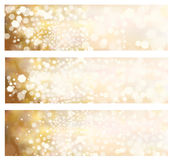 Vector  golden banners. Vector  golden color, bokeh banners Royalty Free Stock Images