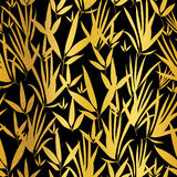 Vector Golden and Black Asian Bamboo Leaves Seamless Pattern Background. Great for tropical vacation fabric, cards Royalty Free Stock Photography