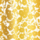 Vector Golden Blossom Flowers Summer Seamless Pattern Background. Great for elegant gold texture fabric, cards, wedding Royalty Free Stock Photo
