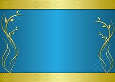 Vector golden and blue frame with gradient. Golden and blue  frame with gradient Royalty Free Stock Photos