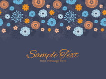 Vector golden and blue night flowers horizontal Stock Image