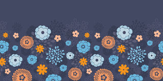 Vector golden and blue night flowers horizontal Royalty Free Stock Image