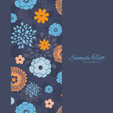 Vector Golden and Blue Night Flowers Vertical Royalty Free Stock Image