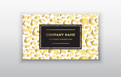 Vector golden business card.Gift or vip cards with trendy leopard pattern,  illustration Stock Image