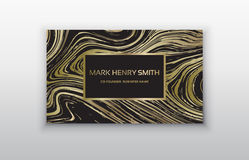 Vector golden business card. Greeting, invitation, business cards design template with swirled stripes. Vector illustration. Swirled vortex stripes background Royalty Free Stock Photography
