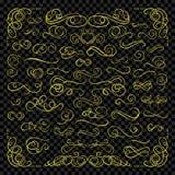 Vector Golden Calligraphic Swirls Set on Transpanert Background, Gold Design Elements Collection. vector illustration
