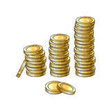 Vector golden coins stacks isolated illustration Stock Images