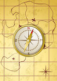 Vector golden compass on old map. Vector illustration of golden compass on old map Stock Image