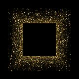 Vector golden confetti square frame design. Vector eps 10 shiny golden confetti square frame design isolated on black background Stock Images