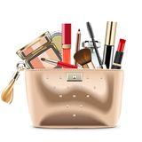Vector Golden Cosmetic Bag with Cosmetics stock illustration