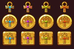 Vector Golden Cross Ankh with colored precious gems. Egyptian golden icons in different versions. On separate layers vector illustration