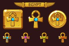 Vector Golden Cross Ankh with colored precious gems. Egyptian Icons. On separate layers stock illustration