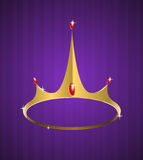 Vector golden crown with shiny diamonds Royalty Free Stock Photography