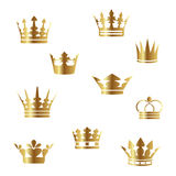 Vector golden crowns. Collection of golden crowns - vector illustration Stock Image