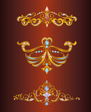 Vector golden crowns. Design vector crowns in gold. Tiaras and tiaras, jeweled for design and decor. Vintage gold ornaments precious corners and borders. Perfect Royalty Free Stock Photography