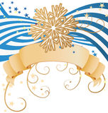 Vector golden detailed snowflake on striped blue background chri Stock Images