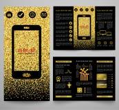 Vector golden elegant business brochure design Stock Photos