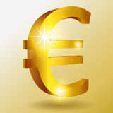 Vector golden euro symbol Royalty Free Stock Photography