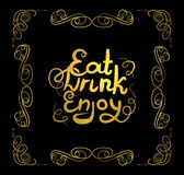 Vector Golden Filigree Frame and Eat, Drink, Enjoy Lettering, Calligraphic Design Element. vector illustration