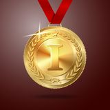 Vector Golden first place medal with red ribbon. On red background. vector Stock Photos