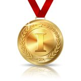 Vector Golden first place medal with red ribbon. Isolated on white with reflection. vector Stock Photography