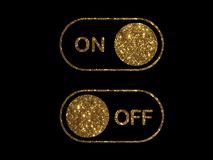 Vector golden flat icon On and Off Toggle switch button. The golden flat icon On and Off Toggle switch button vector format Royalty Free Stock Photography
