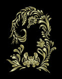 Vector golden floral pattern. Ethnic flower ornament. Royalty Free Stock Photo