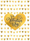 Vector golden foil handwritten lettering Happy Valentines Day. Calligraphy drawn text Valentines Day hearts gold pattern stock illustration