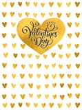 Vector golden foil handwritten lettering Happy Valentines Day. Calligraphy drawn text Valentines Day hearts gold pattern royalty free illustration