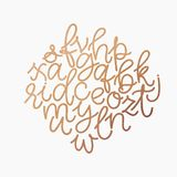 Vector golden foil lowercase alphabet. Unique digital hand drawn gold glitter font. Handwritten abc set isolated on white backgrou. Vector golden lowercase royalty free illustration
