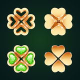 Vector Golden Four-leaf Clovers Set1 Royalty Free Stock Photo