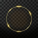 Vector golden frame with glow effect. Neon circle frame. Vector golden frame with glow effect. Neon circle frame, golden ring and glitter effect on transparent Stock Photography