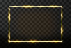 Vector golden frame with glow effect. Neon rectangle frame and glitter effect Stock Image