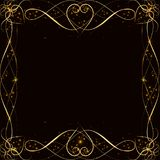 Vector golden frame with lights effects. Shining rectangle banner. on black background. Vector illustration, eps 10. Vector golden frame with hearts effects of Royalty Free Stock Images